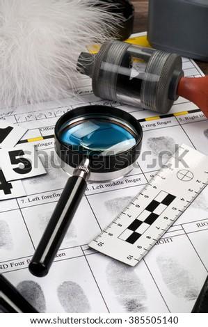 Research forensic fingerprint - stock photo