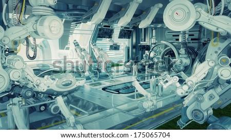 Research lab/ Futuristic room in hospital for diagnostic purposes - stock photo