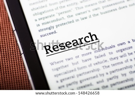 Research on tablet pc screen, ebook concept