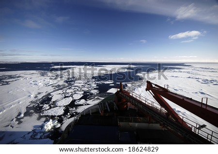 Research vessel in Antarctica - stock photo