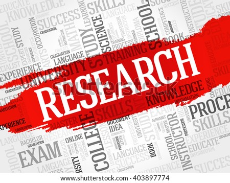 Research word cloud, business concept - stock photo