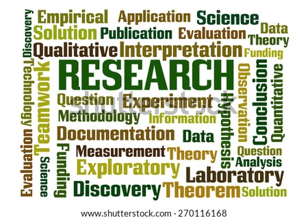 Research word cloud on white background - stock photo