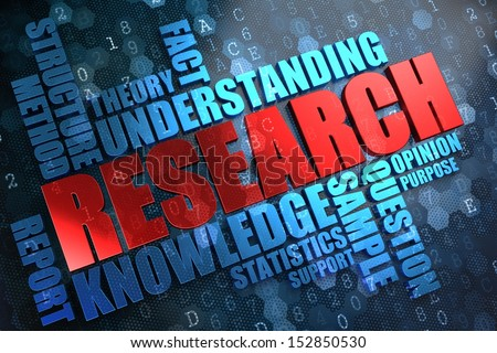 Research - Wordcloud Concept. The Word in Red Color, Surrounded by a Cloud of Blue Words. - stock photo