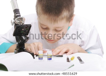 Researcher bending over desk closeup photo against white - stock photo