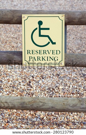 reserved parking space sign for disabled drivers - stock photo