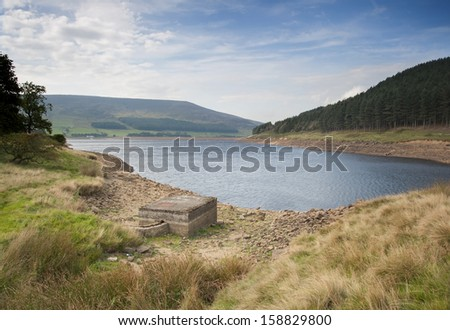 reservoir in the peak district area of saddleworth - stock photo