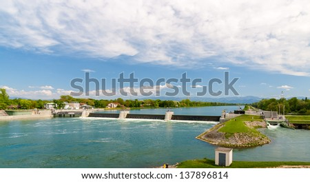 Reservoir of Vogelgrun Hydroelectric Power Plant on Rhine river - stock photo