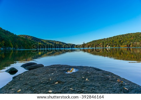 Reservoir on a clear day in New Fairfield Connecticut boardering New York - stock photo
