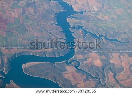 reservoir to the River Duero, Spain - stock photo