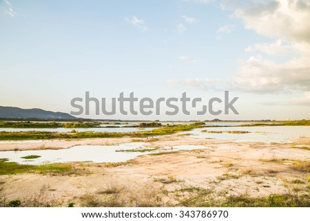 Reservoir with very low water level because of the drought - stock photo