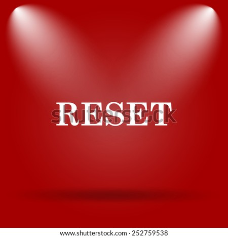 Reset icon. Flat icon on red background.  - stock photo