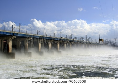 Reset of water at hydroelectric power station on the river