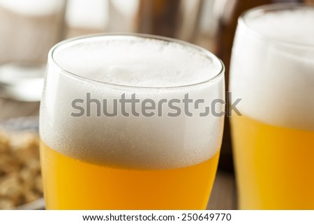 Resfreshing Golden Lager Beer in a Pint Glass - stock photo