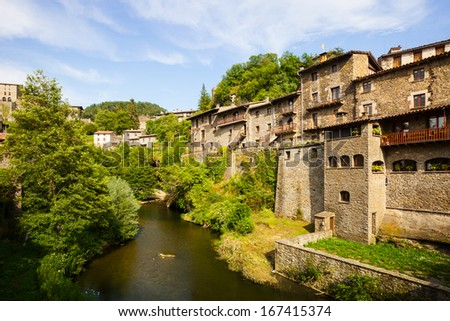 residence houses of old Catalan village. Rupit, Spain