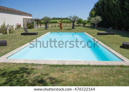 residence with swimming pool under blue sky