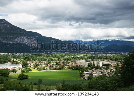 Resident district in the suburb of Grenoble, France (Alps on the background)