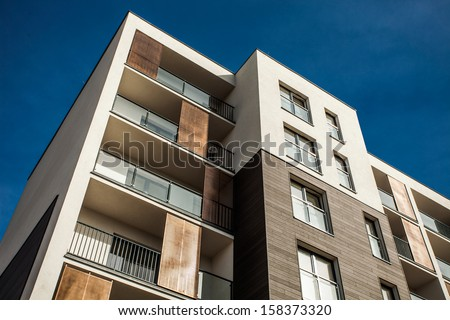 Residental Building on sky background. Exterior - stock photo
