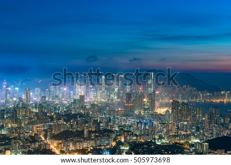 Residential and business area of hong kong view from lion rock peak