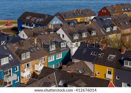 Residential area in Heligoland. Top view of traditional colorful holiday homes. Island Helgoland, Germany - stock photo