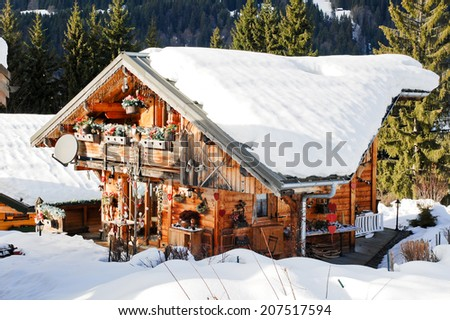 residential area in mountain skiing resort village Les Gets in Portes du Soleil region, France
