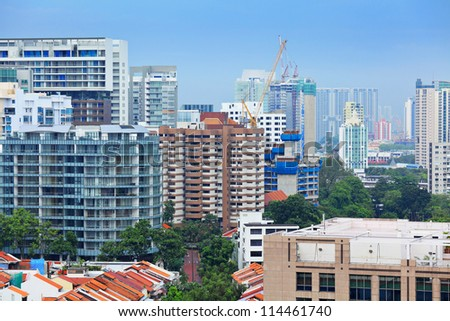 residential area in Singapore - stock photo