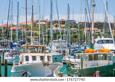 Residential area with marina on a foreground - stock photo