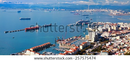 residential areas and port of Gibraltar - stock photo