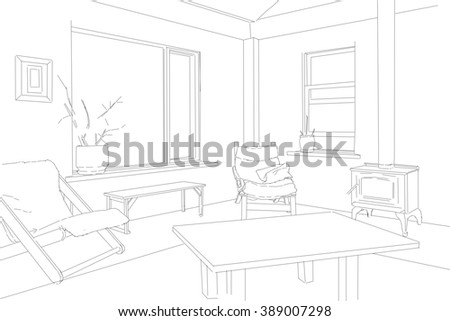 Residential Building Illustration of Living Room - stock photo