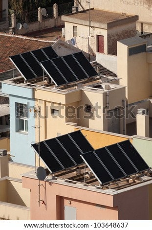 Residential building with solar panels on the roof