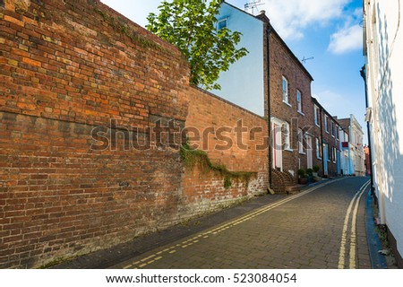 Residential buildings along the street in small British town Bridgnorth. Shropshire, West Midlands, England.