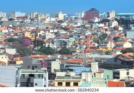Residential buildings and homes in Sao Paulo - stock photo