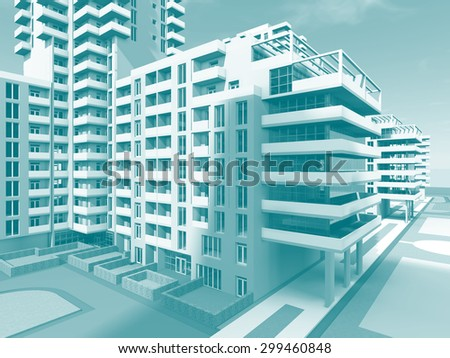 Residential buildings. Architecture background