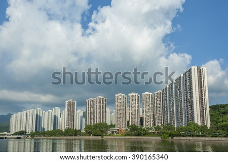Residential buildings in Hong Kong - stock photo