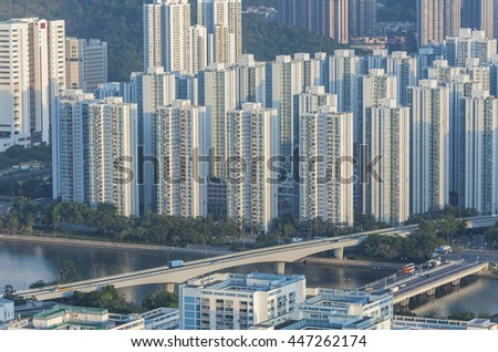 Residential buildings in Hong Kong city - stock photo