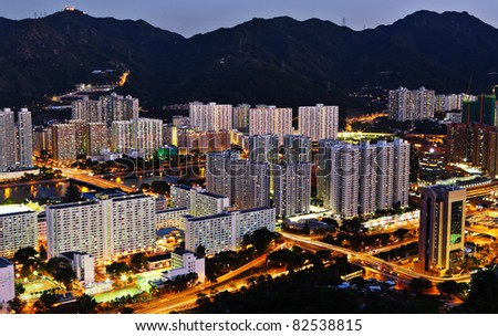 residential buildings in night