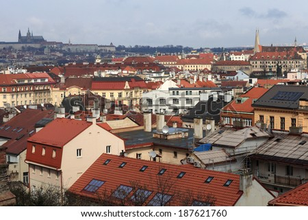 Residential district landscape from Vysehran in Prague