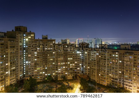 Residential district. Night view