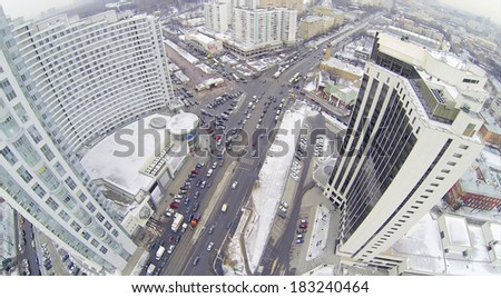 Residential district Sokolniki at winter day in Moscow, Russia. Aerial view - stock photo