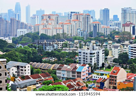 residential downtown in Singapore - stock photo