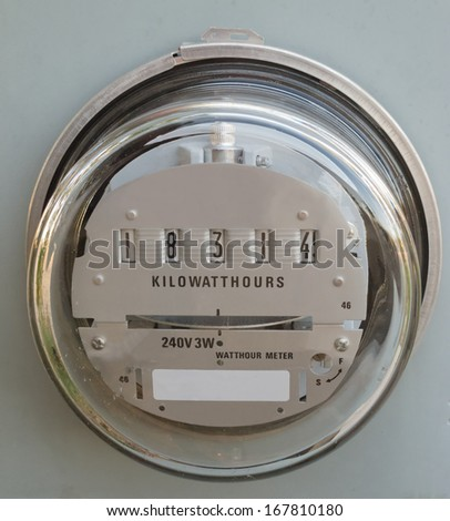 Residential electric power supply meter clearly showing the kilowatt-hours of consumed energy - stock photo