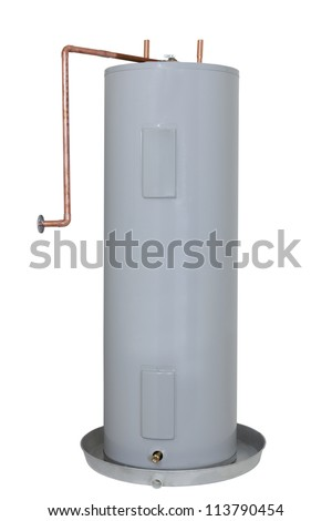 Residential Electric Water Heater Tank; isolated on white - stock photo