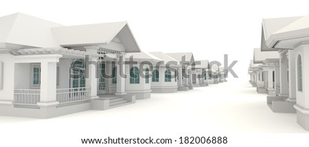 Residential estate village design in white background, create by 3D - stock photo