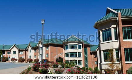 Residential hall buildings on University campus - stock photo