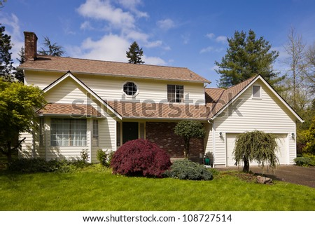 Residential home.  Average american two story residential home. - stock photo