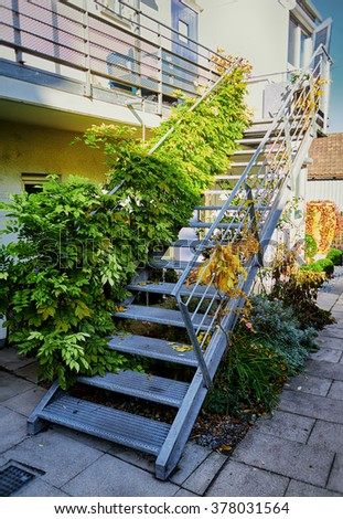 Residential Home Staircase in Germany. - stock photo