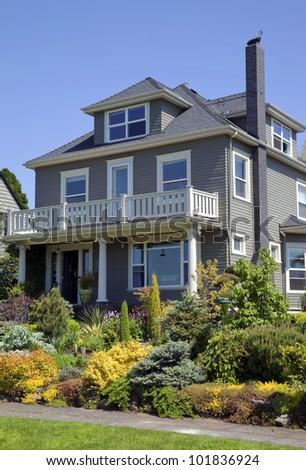 Residential house & garden Portland OR. - stock photo