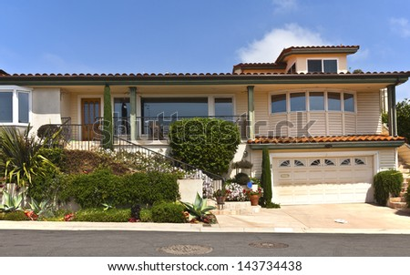Residential house in San Diego Point Loma California. - stock photo