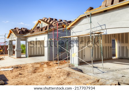 Residential house under construction. - stock photo