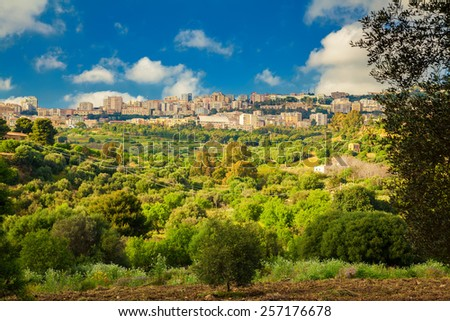 residential houses of Agrigento city seen from the Valley of Temples, Sicily - stock photo