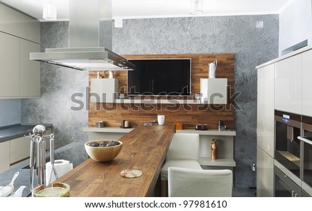 residential interior of modern kitchen in luxury mansion - stock photo